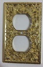 Vintage Brass Outlet Plug Ornate Floral Cover Plate