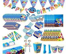 Baby Party Supplies Set / Birthday Parties Decorations shark blue 145 pcs