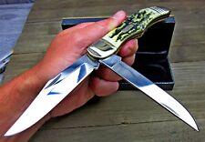 Sam Colt Signature Series Folding Hunter 2 Blade Black Stag Bone Knife CT252 NEW