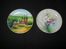 """Vintage Hand Painted 4"""" Hanging Plates x 2 Holy Hill, Wisc. and Flowers Signed"""