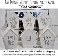 "Rae Dunn Money Fund Piggy Bank RAINY DAY TRAVEL KEEP DREAM BIG ""U CHOOSE"" NEW'19"