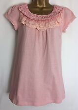 D*rothy P*rkins Pink Cotton Jersey Lace Detail Top Size 8 New