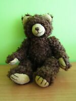 VTG Curly Full Jointed Mohair Teddy Bear Glass Eyes 17""