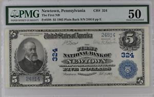 US 598 1902 Plain Back $5 Lyons Roberts The First NB Newtown Pennsylvania PA