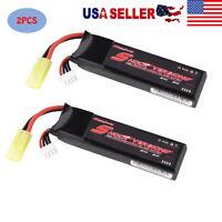 2PCS 11.1V 25C LiPo Battery 1250mAh w/ Mini Tamiya Plug for Airsoft Guns Pistol