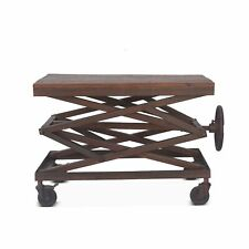 "36"" L Adjustable Accent Table Industrial Hand Crank Reclaimed Woods with Metal"
