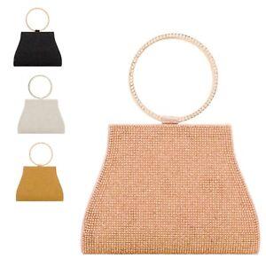 Ladies Bracelet Diamante Clutch Bag Hoop Handle Cocktail Bridal Handbag KH2215