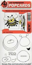 New ART IMPRESSIONS RUBBER STAMPS pop cards + DIES BEE FREE USA SHIP