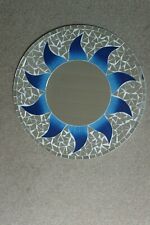 Superb Hand Crafted Mosaic Mirror With Sun Design Blue Color 40 Cm Wide