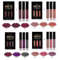 Lipstick Waterproof Matte 3PCS Long Lasting Liquid Cosmetic Sexy Lip Gloss Kit U