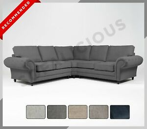 NEW WINDSOR Corner Sofa - 6 SEATER - Buttoned Arms Chesterfield Fabric Full Back