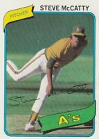 FREE SHIPPING-MINT-1980 TOPPS #231 STEVE MCCATTY ATHLETICS (FACSIMILE AUTOGRAPH)