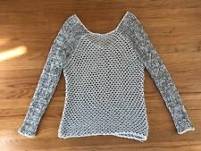 HELMUT LANG Pearl white/black fishnet loose knit sweater pullover sz