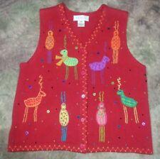 Susan Bristol Sz M Red Cotton/Ramie Sweater Vest Embroidered Christmas Reindeer
