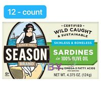 Season Skinless & Boneless Sardines in Olive Oil, 12-count, Total 52.5 oz