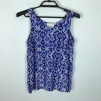 Cynthia Rowley Tank Top Shell Size S Silk Blue White Ikat Print Blouse Shirt