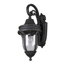 Antique Outdoor Wall Light Hammered Glass Matt Black E27 Classic Lantern Medium