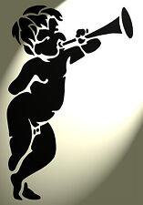 SHABBY CHIC IN PLASTICA STENCIL VINTAGE LOVE CHERUB DESIGNB 297x210mm Foglio francese