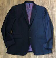 TM Lewin Mens Suit Jacket Blazer Navy Blue Merino Wool Size 40s Super 100