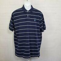Ralph Lauren Polo Mens Shirt Pocket XL Short Sleeve Blue Striped Classic Golf