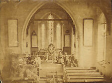 1880 view of a church with the vicar and a lady .west harptree. nr bristol