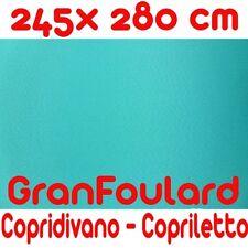 Telo Arredo Copridivano Copriletto GranFoulard copritutto Cotone Azzurro 245x280