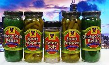 VIENNA BEEF Chicago Hot Dog Condiment Kit, 2 Sport Peppers, 2 Relish Celery Salt