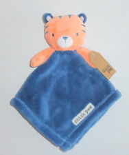 New Chick Pea Orange Tiger Baby Security Blanket Navy Blue NWT P68