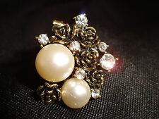 Womens Fashion Vintage Style Pearl Rhinestone Ring