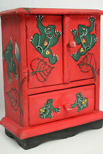 Frogs Red Essential Oil Cabinet Hand Painted Aromatherapy Crystals Sewing Drawer
