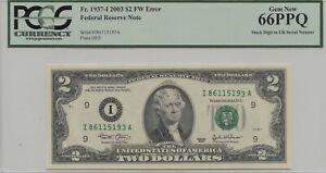 2003 $2 STUCK TURNED DIGIT PCGS 66 PPQ