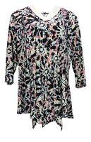 Attitudes by Renee Women's Petite Top PXL Como Jersey W/ Slits Black A377726