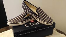 Chaps Women's Canvas Shoes Fashion Sneakers Slip on White/Navy Sz.7B NEW IN BOX