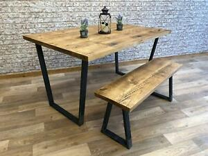 InIndustrial Dining Table Calia Style Leg Steel Frame Kitchen Rustic Table