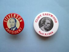 More details for us political campaign buttons, stevenson for president and clint eastwood mayor