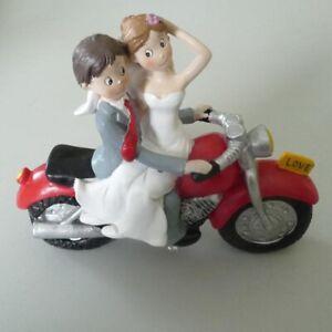 Tortenfigur Hochzeitstorte Tortendeko Tortenaufsatz Brautpaar auf Motorrad 19cm