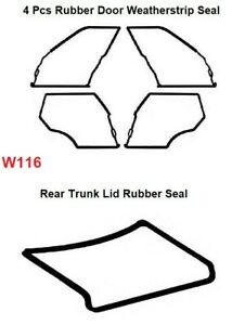 Mercedes Benz W116  - Door + Trunk Rubber Weatherstrip Seal Set 5 Pieces