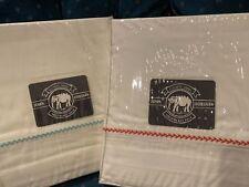 $399 John Robshaw 2 King Flat Sheet Set Blue Red Hand Embroidery Organic Cotton
