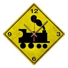 RAILWAY STEAM TRAIN WARNING TIN SIGN CLOCK  STEAM TRAIN ROAD SIGN CLOCK