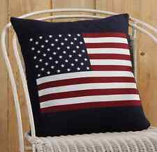 AMERICAN FLAG PILLOW : APPLIQUE RED BLUE PATRIOT AMERICANA TOSS CUSHION