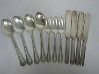"""11 PCS WM ROGERS MFG """"WENTWORTH"""" SILVERPLATE FLATWARE FORKS, KNIVES, SOUP SPOONS"""