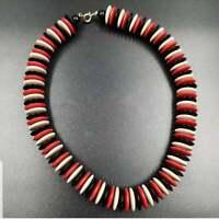 Vintage Multi Color Plastic Disc Bead Choker Mod Necklace