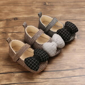 Newborn Baby Girls Plaid Crib Shoes Infant Toddler Bow Soft Trainers Mary Jane
