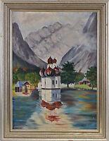 99860005 Ölgemälde sign. Foitzik Kapelle St. Bartholomä Königssee Alpen Bayern