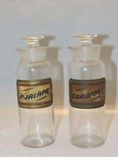 Lot of 2 Antique Drug Store Pharmacy Apothecary Glass Jar/Bottles With Labels