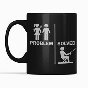 Problem Solved Fun Fishing Gift Mug Black Gloss Mug