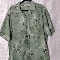 Island Blue Mens Green Floral Hawaiian Shirt Short Sleeves Size Large