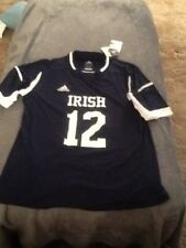 adidas notre dame irish short sleeve soccer jersey navy blue and white