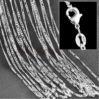 "Wholesale Lots Hot Sale10pcs 2mm 925 Silver Plated Figaro Chain Necklace 16""-24"""