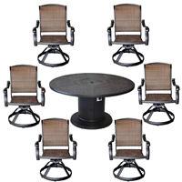 Patio grill dining table set aluminum Santa Clara swivel rocker wicker chairs